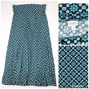 LuLaRoe Blue Floral Simply Comfortable Maxi Skirt